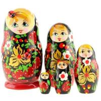 Дер. Матрешка маленькая - с божьей коровкой 5 шт MS0502konM-01