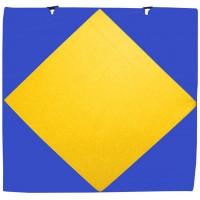 Мат гимнастический 1х1х0,05м с вырезом под стойки синий-желтый