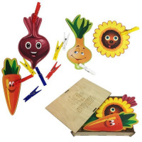 Дер. Игры с прищепками Подсолнух, лук, морковка, свекла 114202