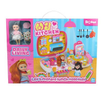 Игровой набор 076QL Кухня в чемодане с куклой в кор.