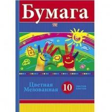 Бумага цвет 10л 10цв мелованная Радуга 12688 Hatber