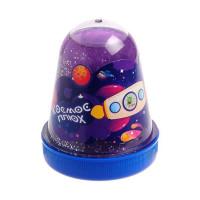 Лизун Слайм Плюх Космос Светящийся с блестками, Фиолетовый 130 г