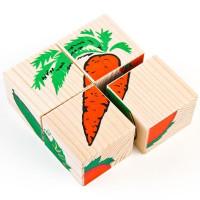 Дер. Кубики 4шт Овощи 3333-6