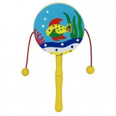 Дер. Колотушка с бусинками Маленькая рыбка AN02776