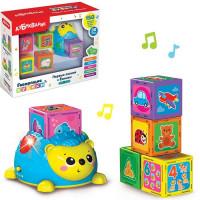 Игрушка музыкальная Первые знания с Ёжиком синий  4630027291950 комплект: Черепашкой и кубики 5 шт