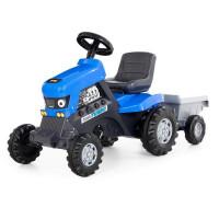 Каталка-трактор с педалями Turbo синяя с полуприцепом 84637 П-Е /1/