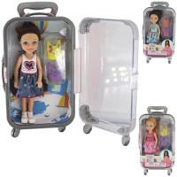 Кукла 300-29AJX с одеждой в чемодане