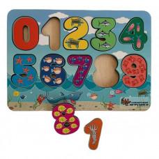 Дер. Цифры с цветным принтом морские обитатели 72102