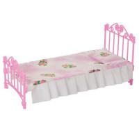 Мебель Кровать розовая с постельным бельем С-1427 Огонек