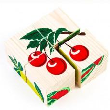 Дер. Кубики 4шт Фрукты-ягоды 3333-2