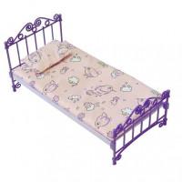 Мебель Кровать фиолетовая с постельным бельем С-1425 Огонек