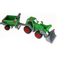 Трактор-погрузчик Фермер-техник с полуприцепом в сетке 8718 П-Е