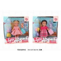 Кукла малышка 4620 Lyna путешественница с питомцем в кор.