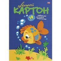 Картон цвет 10л 10цв мелованный Рыбка 03230 Hatber