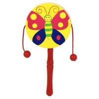 Дер. Колотушка с бусинками Маленькая бабочка AN02778