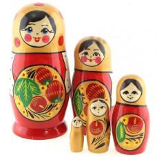 Дер. Матрешка Семёновская поднос с ягодами красная 5 шт MPA0502-08