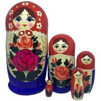 Дер. Матрешка Семёновская красный платок синий сарафан 5 шт MC0504a-05