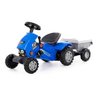 Каталка-трактор с педалями Turbo-2 синяя с полуприцепом 84651 П-Е /1/