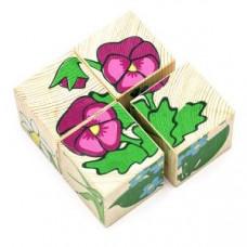 Дер. Кубики 4шт Цветочки 3333-7