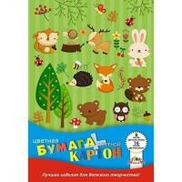 Набор картон цвет 8л + бумага цвет 16л. Лесные друзья С1832-11
