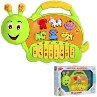 """Пианино обучающее """"Гусеница"""" цвет зеленый, 42 звука, мелодии, стихи 1084061-R2"""