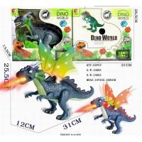 Динозавр 01-KQX с дымом, звук, подсветка в кор.