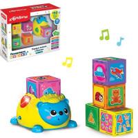 Игрушка музыкальная Первые знания с Ёжиком жёлтый 14630027291964 комплект: ёжик и кубики 5 шт
