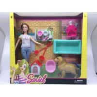 Кукла 7731-А2 Sariel с собакой, рождение щенков, аксесс. в кор.
