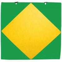 Мат гимнастический 1х1х0,05м с вырезом под стойки зеленый-желтый