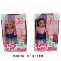 Кукла малышка 4614 Lyna с питомцем в кор.