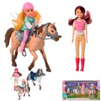 Кукла 339 Жокей с малышкой и лошадками в кор.