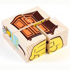 Дер. Кубики 4шт Мебель 3333-5