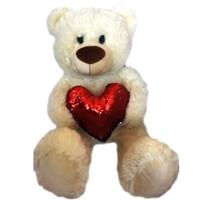 Медвежонок с красным сердцем из пайеток 70см 6101-1/МЛ/70