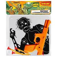 Пистолет Bauer 734 большой с мишенью со стрелами на присосках Охотник на зомби